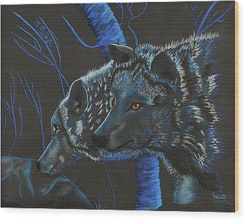 Blue Wolves Wood Print