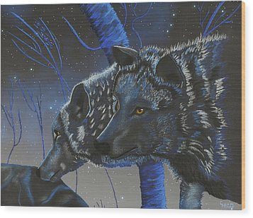 Blue Wolves With Stars Wood Print by Mayhem Mediums