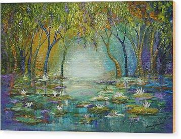 Blue Woods Wood Print