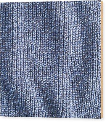 Blue Wool Wood Print by Tom Gowanlock