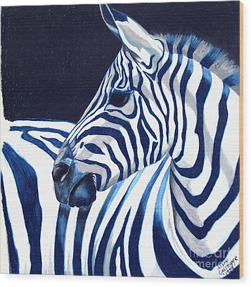 Blue Zebra Wood Print by Alison Caltrider