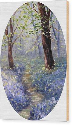 Bluebell Wood Wood Print by Meaghan Troup
