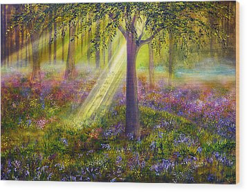 Bluebell Woods Wood Print by Ann Marie Bone