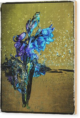 Wood Print featuring the mixed media Bluebells In Water Splash by Peter v Quenter