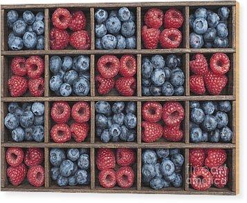 Blueberries And Raspberries  Wood Print