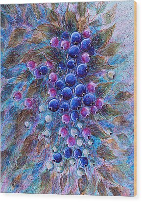 Blueberries Wood Print by Natalie Holland