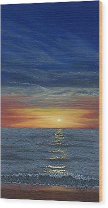 Blueberry Beach Sunset Wood Print