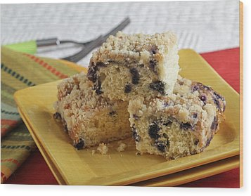 Blueberry Coffeecake Wood Print by Sarah Christian