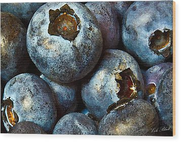 Blueberry Detail Wood Print by Cole Black