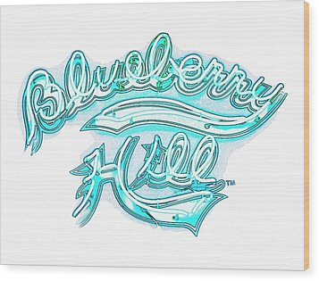 Blueberry Hill Inverted In Neon Blue Wood Print by Kelly Awad