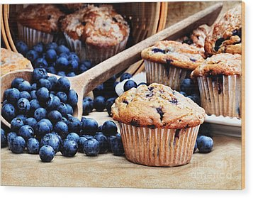 Blueberry Muffins Wood Print by Stephanie Frey