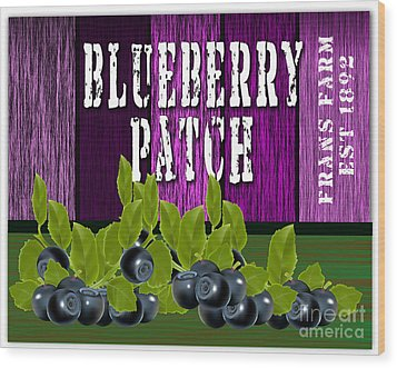 Blueberry Patch Wood Print