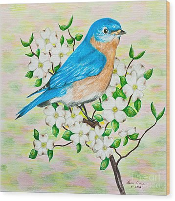 Bluebird And Dogwood Wood Print by Lena Auxier