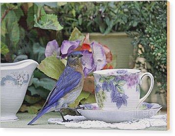 Bluebird And Tea Cups Wood Print by Luana K Perez