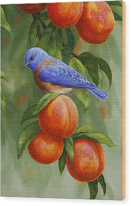 Bluebird And Peaches Greeting Card 2 Wood Print by Crista Forest