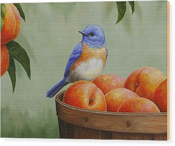 Bluebird And Peaches Greeting Card 3 Wood Print by Crista Forest