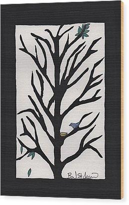 Bluebird In A Pear Tree Wood Print by Barbara St Jean