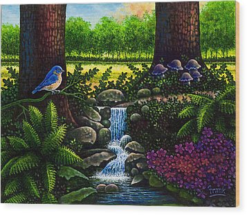 Wood Print featuring the painting Bluebird by Michael Frank