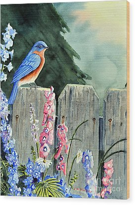 Bluebird Morning Wood Print