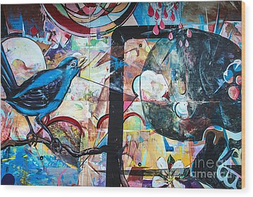 Bluebird Sings Wood Print by Terry Rowe