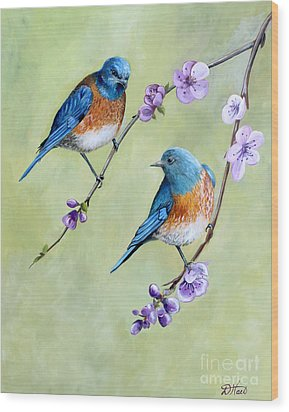 Wood Print featuring the painting Bluebirds And Blossoms by Debbie Hart