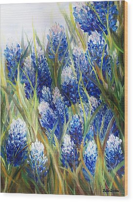 Bluebonnet Barrage  Wood Print by Patti Gordon