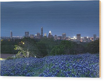 Bluebonnet Twilight Wood Print