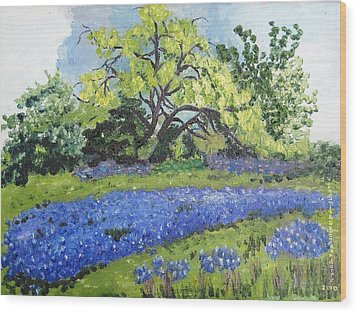 Bluebonnets On A Stormy Day Wood Print