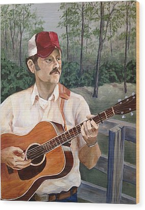 Bluegrass Picker Wood Print by Janet Felts