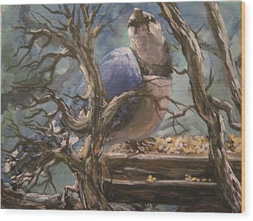 Wood Print featuring the painting Bluejay by Megan Walsh