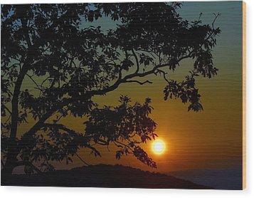 Blueridge Sunset Wood Print by Cathy Shiflett