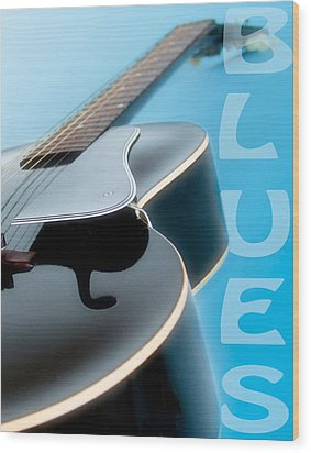 Blues Guitar Wood Print by David and Carol Kelly
