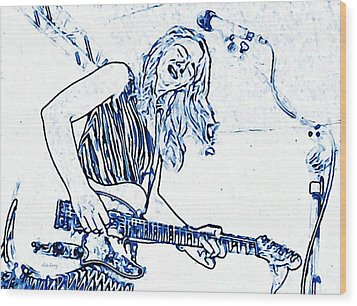 Blues In Blue Wood Print by Chris Berry