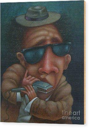 Blues In Hand 2001 Wood Print by Larry Preston