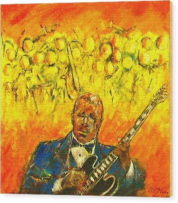Blues Man Wood Print by Aaron Harvey