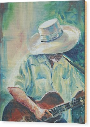 Blues Man Wood Print