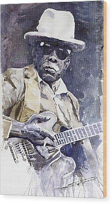Bluesman John Lee Hooker 3 Wood Print by Yuriy  Shevchuk