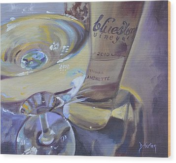 Bluestone Traminette And Glass Wood Print by Donna Tuten