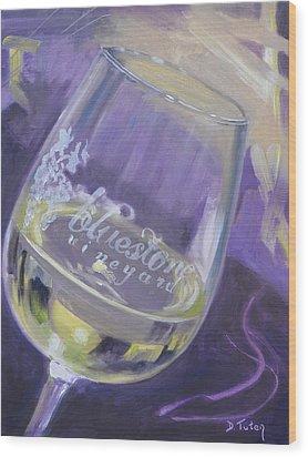 Bluestone Vineyard Wineglass Wood Print