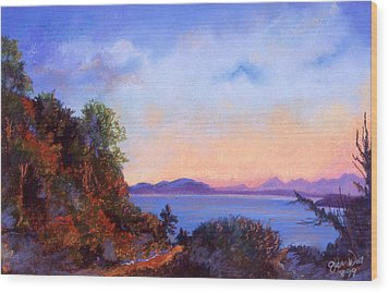 Wood Print featuring the pastel Bluff by Susan Will