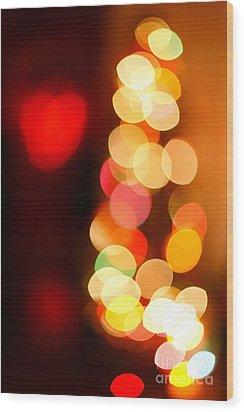 Blurred Christmas Lights Wood Print by Gaspar Avila