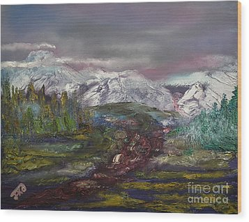 Wood Print featuring the painting Blurred Mountain by Jan Dappen