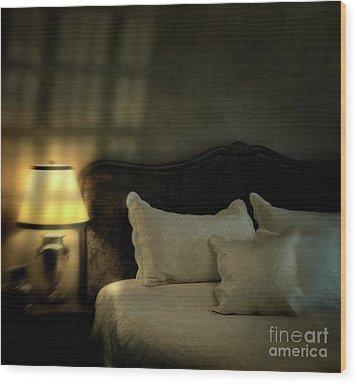 Blurry Image Of A Vintage Looking Bedroom Wood Print by Sandra Cunningham