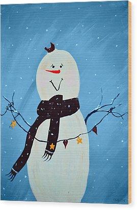Blushing Snowman Wood Print by Chastity Hoff