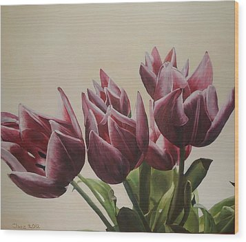 Wood Print featuring the painting Blushing Tulips by Cherise Foster