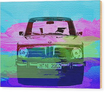 Bmw 2002 Front Watercolor 1 Wood Print by Naxart Studio