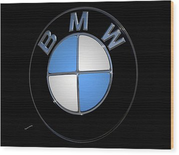 Bmw Emblem Wood Print by DigiArt Diaries by Vicky B Fuller