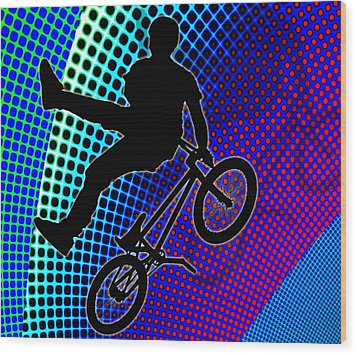 Bmx In Fractal Movie Marquee Wood Print by Elaine Plesser