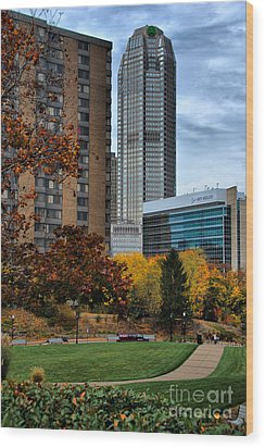 Bny Mellon From Duquesne University Campus Hdr Wood Print by Amy Cicconi