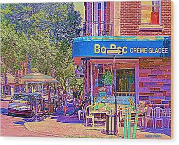 Bo Bec Creme Glacee Ice Cream Shop Laurier Montreal Springtime Cafe Scene By Carole Spandau Wood Print by Carole Spandau